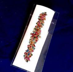 Arm-Cuff-13-cm-Multi-Coloured-Gems-on-Gold-Adhesive-Bracelet-Anklet-004