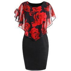 Cheap Dresses, Buy Directly from China Suppliers:Gamiss Summer Plus Size Rose Valentine Overlay Capelet Dress Women Clothing Chiffon Elegant Party Pencil Dress Vestidos Dress Plus Size, Cheap Dresses, Plus Size Dresses, Plus Size Outfits, Work Dresses, Discount Dresses, Valentino Wedding Dress, Capelet Dress, Jumper Dress