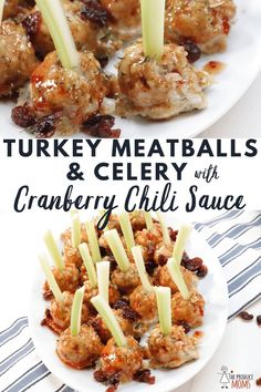 Turkey Meatballs And Celery With Cranberry Chili Sauce A Delicious Appetizer For Your Next Holiday Party. Pressed With Flavor And Easy To Make This Recipe Will Be A Hit With Your Guests The Produce Moms Holiday Appetizers, Yummy Appetizers, Appetizer Recipes, Cooking Recipes, Healthy Recipes, Healthy Nutrition, Healthy Food, Delicious Recipes, Turkey Meatballs