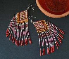 Seed bead earrings Native American style summer boho