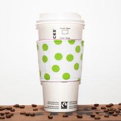 New to Chockrosa on Etsy: Coffee cozy Green Polkadot Fabric Coffee sleeve Cup sleeve Coffee clutch Hot cup jacket Reusable Coffee Clutch Cup Sleeve Premium