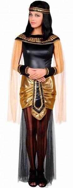 déguisement de reine d'Egypte avec une robe noire et dorée pour renforcer l'aspect luxueux !