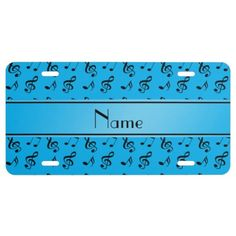 Personalized name sky blue music notes license plate: Music gift ideas. Sky blue music notes pattern background blue black stripe personalized with your name gifts or monogram gifts or your initials. Ideal for birthdays, musicians and music fans.  #blue #personalize #musicnotes #Licenseplate