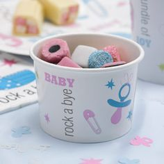 Pack of 8 baby themed paper sweetie treat tubs. £4.99 from the Fuschia Boutique at www.fuschiadesigns.co.uk.