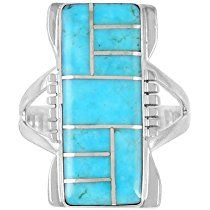 925 Sterling Silver Ring with Genuine Turquoise Size 5 to 13