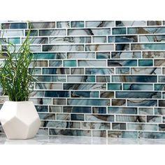 Harbour Island Polished Linear Mosaic - 12 x 12 - 100268952 Blue Backsplash, Stone Backsplash, Blue Tile Backsplash Kitchen, Vinyl Backsplash, Install Backsplash, Backsplash Design, Beach Bathrooms, Small Bathroom, Bathroom Ideas