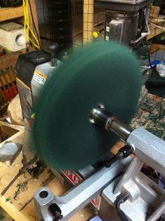 Homemade buffing wheels.