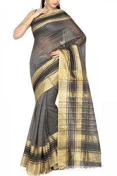 Gray & Gold Zari Cotton Silk Maheshwari Saree