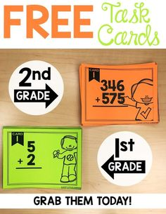 Task card organizing tips: Do you love using task cards in your classroom but need a better way to organize them? This post gives a bunch of task card storage ideas and tips. Task cards are great for early finishers. Grab your free task cards here too! Math Resources, Math Activities, Math Task Cards, Free Task Cards, Second Grade Math, Grade 1, Third Grade, 2nd Grade Math Games, 2nd Grade Teacher