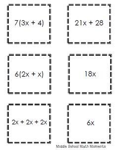 Partnering Cards Using Equivalent Expressions (Middle School Math Moments) Equivalent Expressions, Math Expressions, Math Strategies, Math Resources, Junior High Math, Maths Algebra, Algebra Activities, Sixth Grade Math, Math Enrichment
