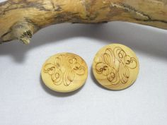 Decorative Wood Buttons Set of 2 by rosiemoonbeams on Etsy (Craft Supplies & Tools, Sewing & Needlecraft Supplies, Buttons & Fasteners, Buttons, vintage, sewing, wood, buttons, decorative, two, light wood, wood buttons, sewing buttons, two buttons, decorative buttons, wooden buttons, sweater buttons)
