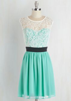 Shortcake Story Dress in Turquoise - Mint, Black, White, Lace, Prom, Party, A-line, Cap Sleeves, Variation, Mid-length, Top Rated
