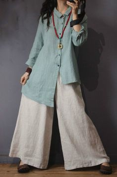 Vintage Style Linen Striped Blouse Asymmetric Oversized Shirt in Light Green Light Orange One Size Hijab Fashion, Boho Fashion, Fashion Dresses, Vintage Fashion, Womens Fashion, Dress Shirts For Women, Clothes For Women, Pantalon Large, Vintage Stil