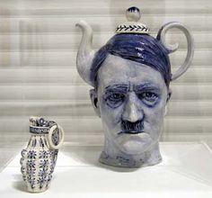 Hitler teapot by Seattle based artist Charles Kraft. Ceramics Projects, Ceramic Design, Delft, Ceramic Pottery, Tea Pots, Diy And Crafts, Illustration Art, Porcelain, Tableware