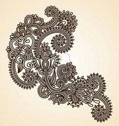 Hand-Drawn Abstract Henna Mendie Flowers Doodle Vector Illustration Design Element  Stock Photo