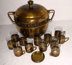 AAO 026/ Messing Bowlebehälter + 12x Teller + 12 Glas Bowleglas Bowle um 1910   eBay