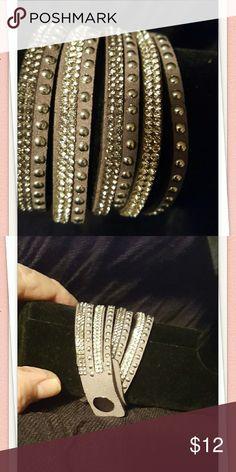 Bracelet NWOT made of high quality leather & crystal Jewelry Bracelets
