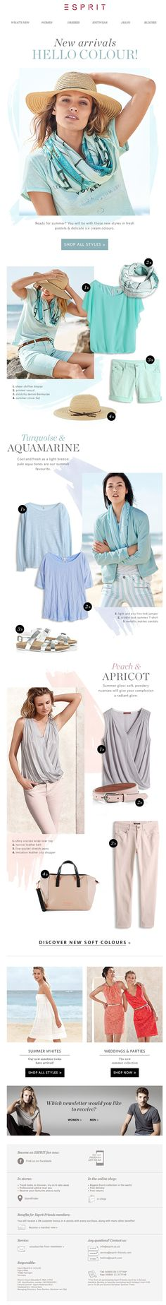 #newsletter Esprit 05.2014 NEW IN for summer! We ♥ the new pastels