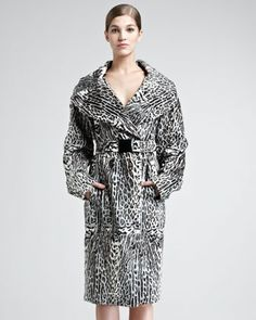 Ocelot-Print Leather Trench Coat by Donna Karan at Bergdorf Goodman.