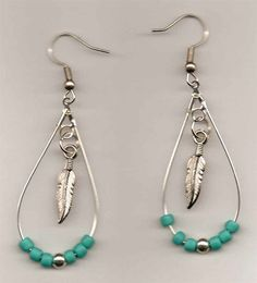 Native American Beaded Earrings (Beads and Feather Tear Drop)