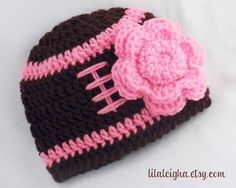 Baby Girl Pink Football Hat & Flower Newborn to by lilaleigha, $15.50