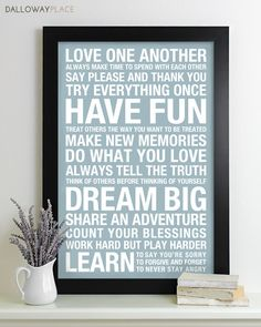 UNFRAMED PRINT on high quality heavyweight paper with archival fade-resistant inks.   Family Rules sign - Words to live by for the whole family!