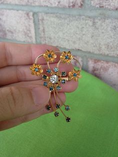Vintage Gold-tone Brooch with Rhinestones by LaylaBaylaJewelry
