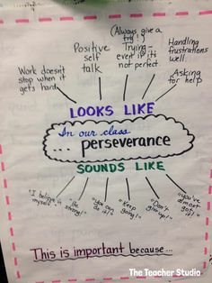 The first few days of school…in pictures! – The Teacher Studio Love this idea for discussing what perseverance looks like and sounds like… great topic for the first week of school! Beginning Of The School Year, New School Year, School 2017, School School, Summer School, Sunday School, School Stuff, Social Emotional Learning, Social Skills