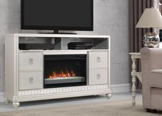 Diva TV Stand with a ClassicFlame Electric Fireplace- Platinum Finish