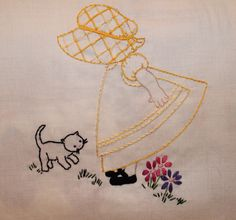 Hand embroidered Sunbonnet Sue with kitten.