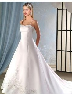 A-Line/Princess spaghetti straps Chapel train  wedding dress for brides 2010 Style(WDA0058