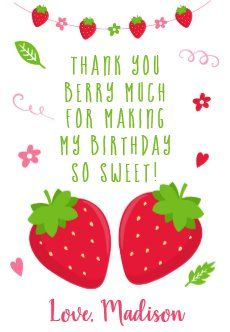 Strawberry Pink Girl Birthday Thank You Favor Gift Tags | Zazzle.com First Birthday Favors, Birthday Thank You, Girl Birthday, Custom Ribbon, Personalized Gift Tags, Pink Girl, First Birthdays, Strawberry, Prints