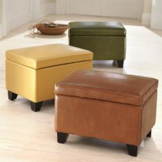 Grandin Road - Cordoba Leather Storage Ottoman - Crafted from custom-dyed leather over a sturdy hardwood frame. Hinged lid includes locking ...