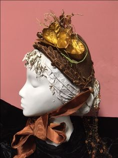 Lady's straw bonnet, ca. Features velvet leaves and tiny straw ornaments au tremblant, and silk hair net decorated with orange glass beads. Ruched silk lining, and silk moire ties. Silk Hair, Historical Society, Glass Beads, Ties, Velvet, Ornaments, Orange, Fashion, Tie Dye Outfits