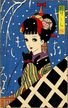 Girl with Cat by Junichi Nakahara 1930s.