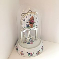 Disney Winnie the Pooh Anniversary Glass Dome Clock Porcelain Base #Disney
