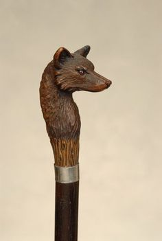A very fine wood fox cane : Lot 178 Handmade Walking Sticks, Hand Carved Walking Sticks, Wooden Walking Sticks, Walking Sticks And Canes, Wood Sculpture, Metal Sculptures, Abstract Sculpture, Bronze Sculpture, Raising Canes