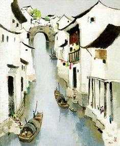 [original] appreciation of Master's works-Wu Guanzhong Sumi E Painting, Japan Painting, Chinese Painting, Watercolor Illustration, Watercolor Paintings, Wu Guanzhong, Chinese Landscape, China Art, Lotus