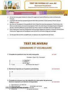 Je vous propose un test pour évaluer les compétences de nos apprenants en matière de Grammaire et Vocabulaire, Compréhension et Expression Écrite. Expression Orale.Ce test est destiné aux apprenants ayant un niveau A1 et qui visent un niveau A2.La compétence de Compréhension de l'Orale n'est pas inclue. Cela je vous la laisse à votre choix. - Fiches FLE