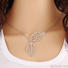 Fresh Hollow Two Leaves Silvering Pendant Clavicle Necklace only $9.99 in ByGoods.com!