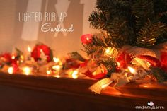 This Lighted Burlap Garland adds a rustic touch to holiday decor and can be used year and year!
