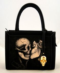 Handmade Tattoo Bag; Double Face Small (Kiss of dead)