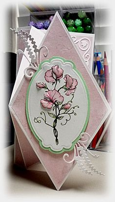 Bloomin' Paper: Upright diamond fold card...pretty in pink...almost closed...