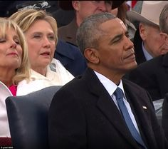 Watching the swearing in: Hillary Clinton was in her seat as Donald Trump stood to take th...