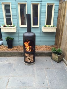 Chimenea Patio Garden Woodburner Log Woodburning stove Gas Bottle used upcycle | eBay