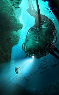 Undersea Picture  (2d, illustration, concept art, underwater, sci-fi, submarine)
