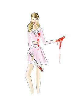 "Channel ""Scream Queens"" ultimate Queen of Mean, Chanel (Emmy Roberts) in a pink skirt and top, pearl necklace, and fake blood.      - Seventeen.com"