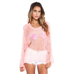 #Wildfox Couture Heart Bra Lost Sweater in Pink