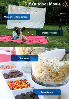 There's something magical about watching the stars under the stars. Make summer nights magical and memorable by creating a theater in your backyard. Get family, friends, and neighbors together for an Outdoor Movie Night. You don't have to have a blockbuster budget for this fun activity that's sure to get rave reviews. Save money with easy and affordable DIY ideas.