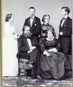 Princess Isabel of Brazil with Prince Gaston d'Orleans and Princess Leopoldina de Bragance with Prince Ludwig de Saxe-Coburg-Gotha and emperor Pedro II of Brazil with his wife empress Teresa Cristina de Bourbon Siciles.